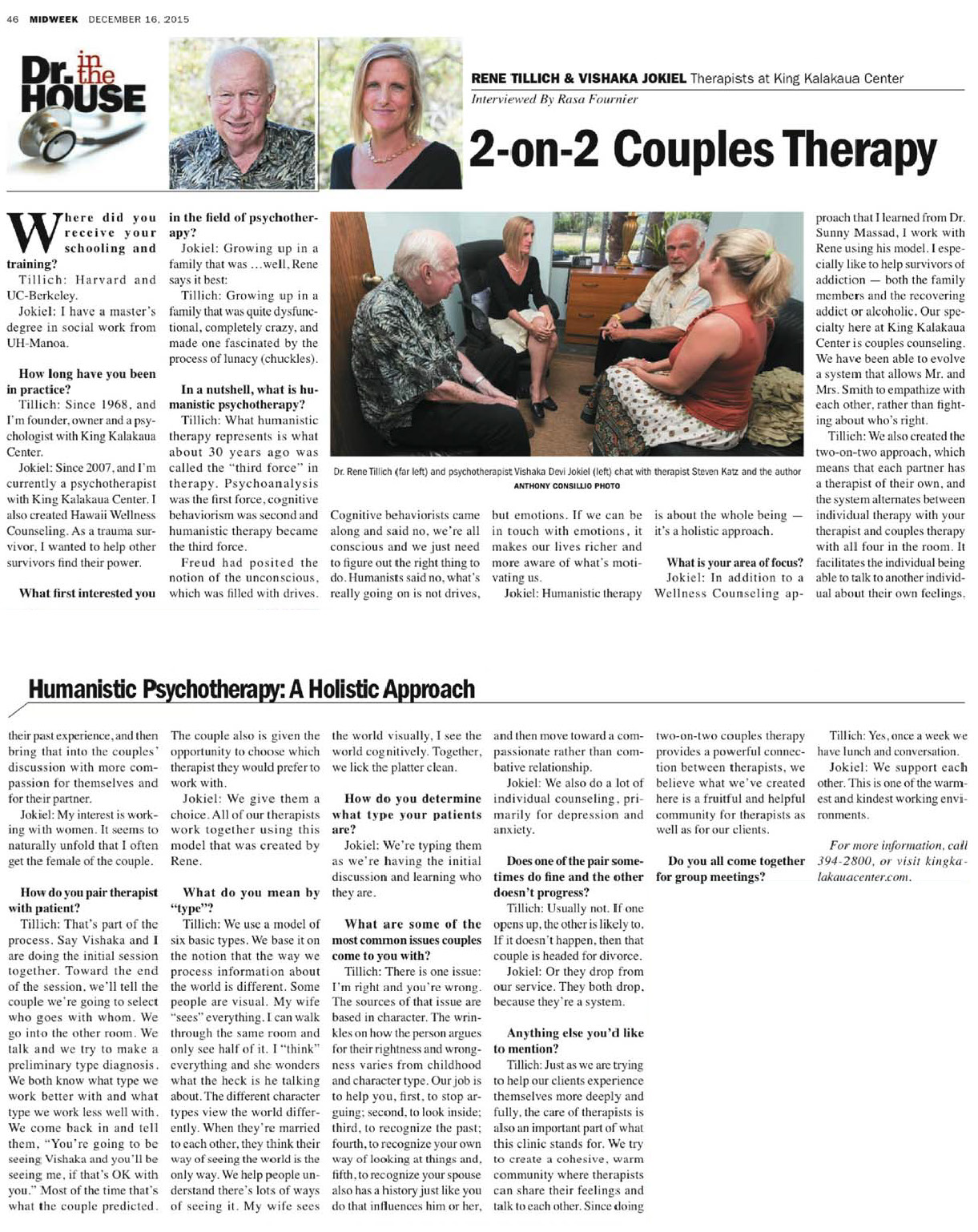 Feature article in Hawaii Midweek